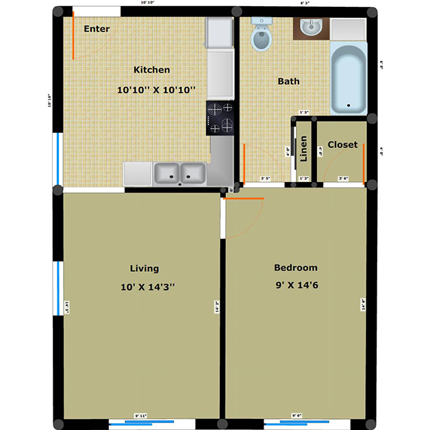 1 bedroom 1 bathroom apartment floor plan of Washington Plaza income based apartments Richmond VA