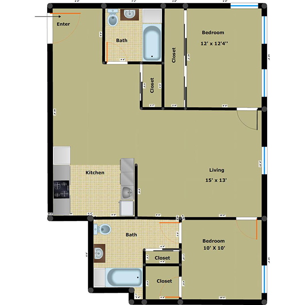 2 bedroom 2 bathroom floor plan of Washington Plaza income based apartments Richmond VA